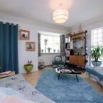 Голубой в интерьере комнаты