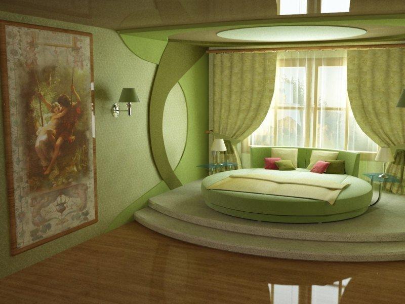 Зеленая спальня с круглой кроватью