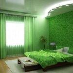Коричневый и зеленый в интерьере спальни