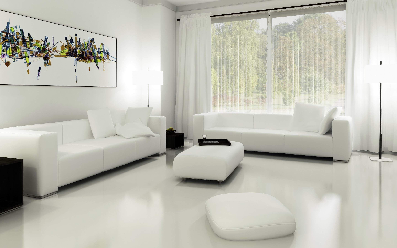 Белая гостиная с окном в пол