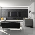 Телевизор на черной стене в гостиной