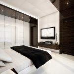 Сочетание шоколадного и белого в дизайне спальни