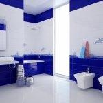 Ванная в сине-белых тонах