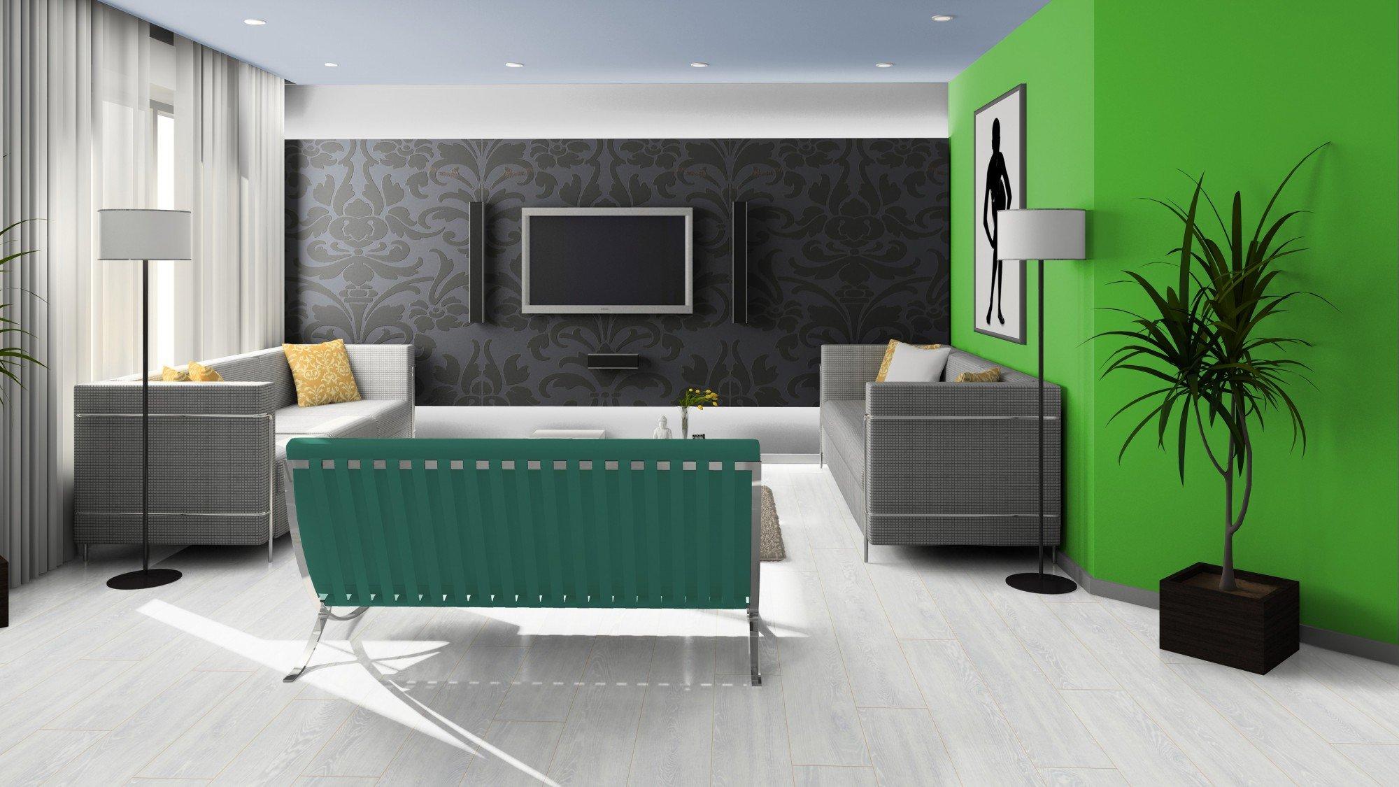 Черный, зеленый и белый в дизайне гостиной