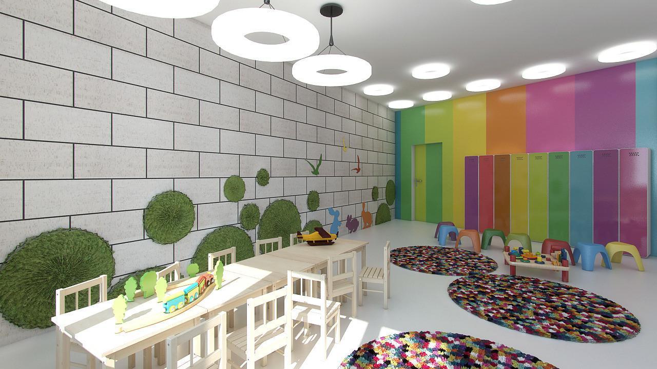 Яркие цвета в интерьере детского сада