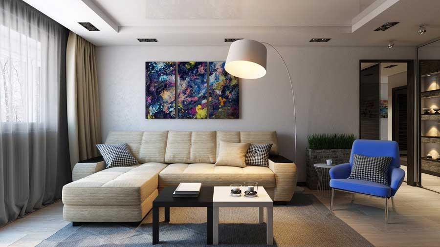 Мебель в гостиной 19 кв м
