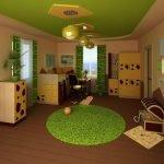 Зеленый потолок в детской