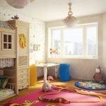Детская комната с большим окном