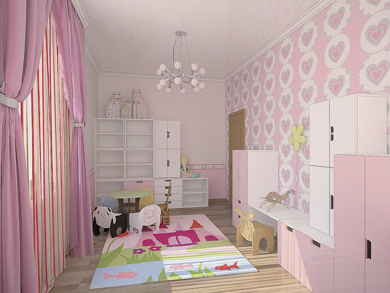 Нежно-розовые оттенки в дизайне детской для маленькой принцессы