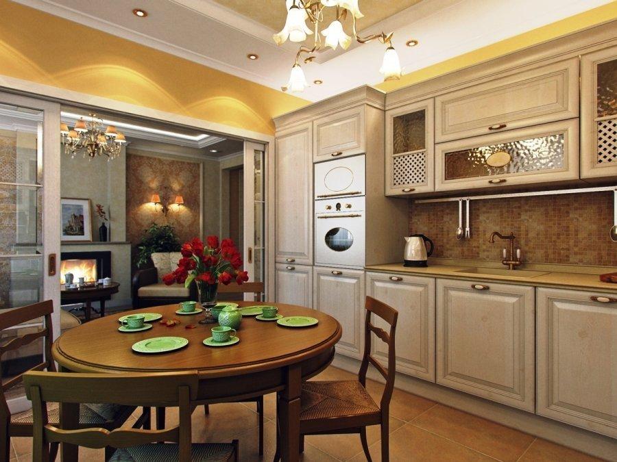 Кухня 3 на 4 с мебелью вдоль стены