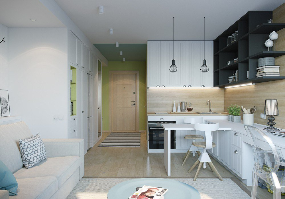 Белые обои в интерьере квартиры студии 22 кв м