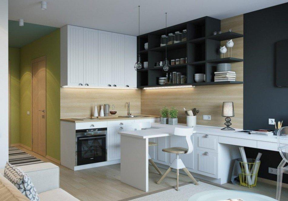 Кухонная зона в квартире студии 22 кв м