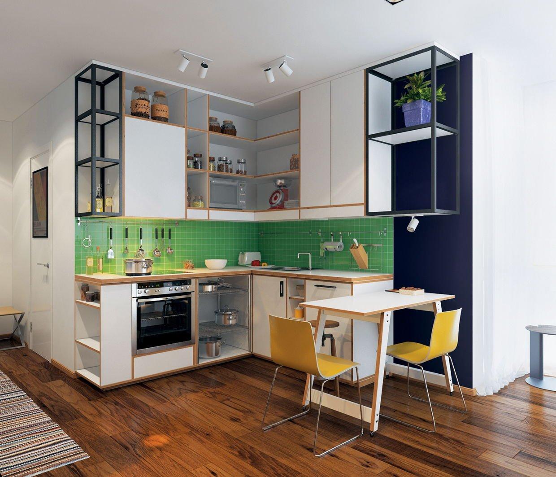 Сочетание белой мебели и зеленого фартука