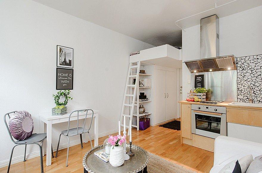 Спальное место в квартире студии 22 кв м