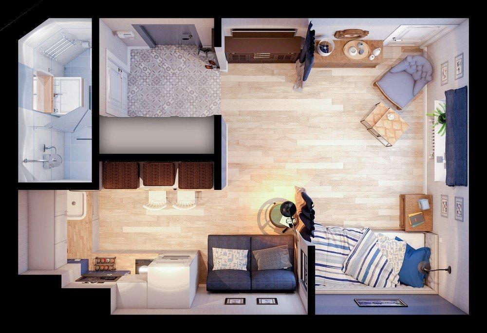 Дизайн-проект квартиры-студии 22 кв м