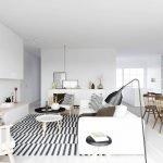 Черно-белый ковер на полу комнаты