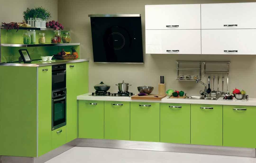 Ярко зеленая кухня