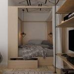 Кровать за раздвижной дверью