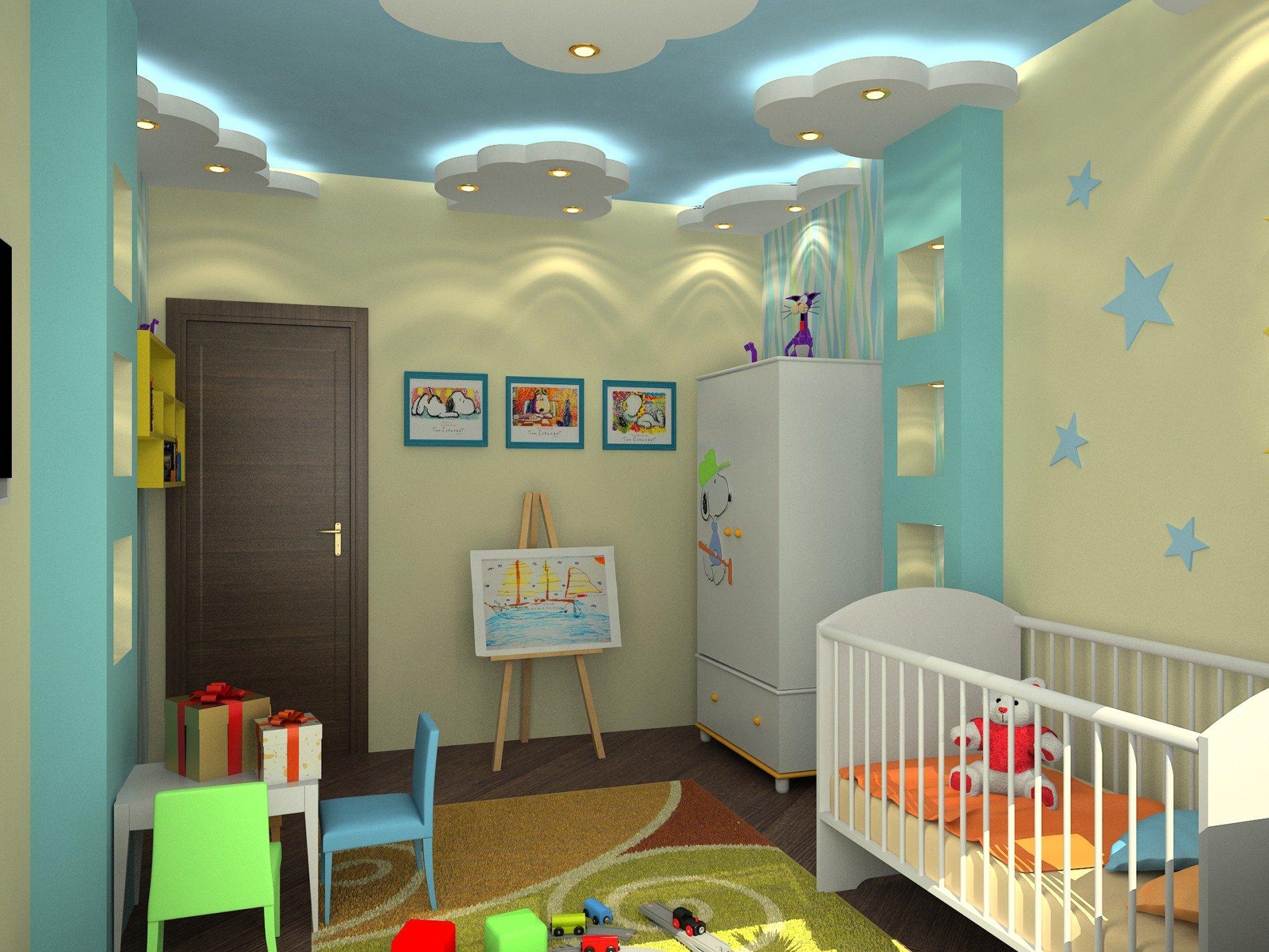 Подсветка потолка из гипсокартона в детской