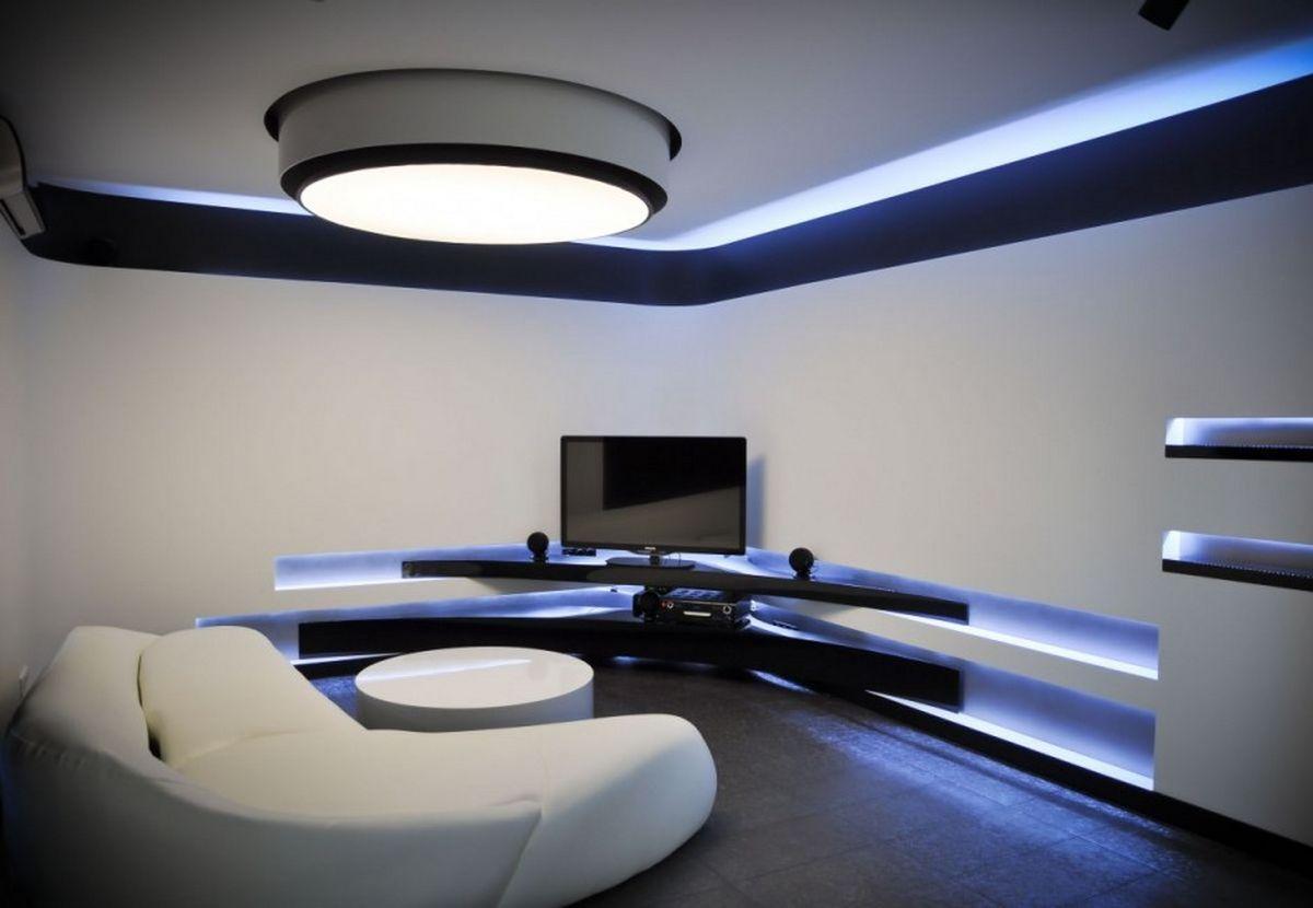 Белая комната в стиле модерн
