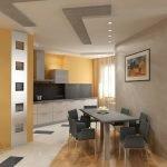 Дизайн квартиры в белых, серых и оранжевых тонах