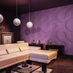 Фиолетовый цвет в дизайне гостиной