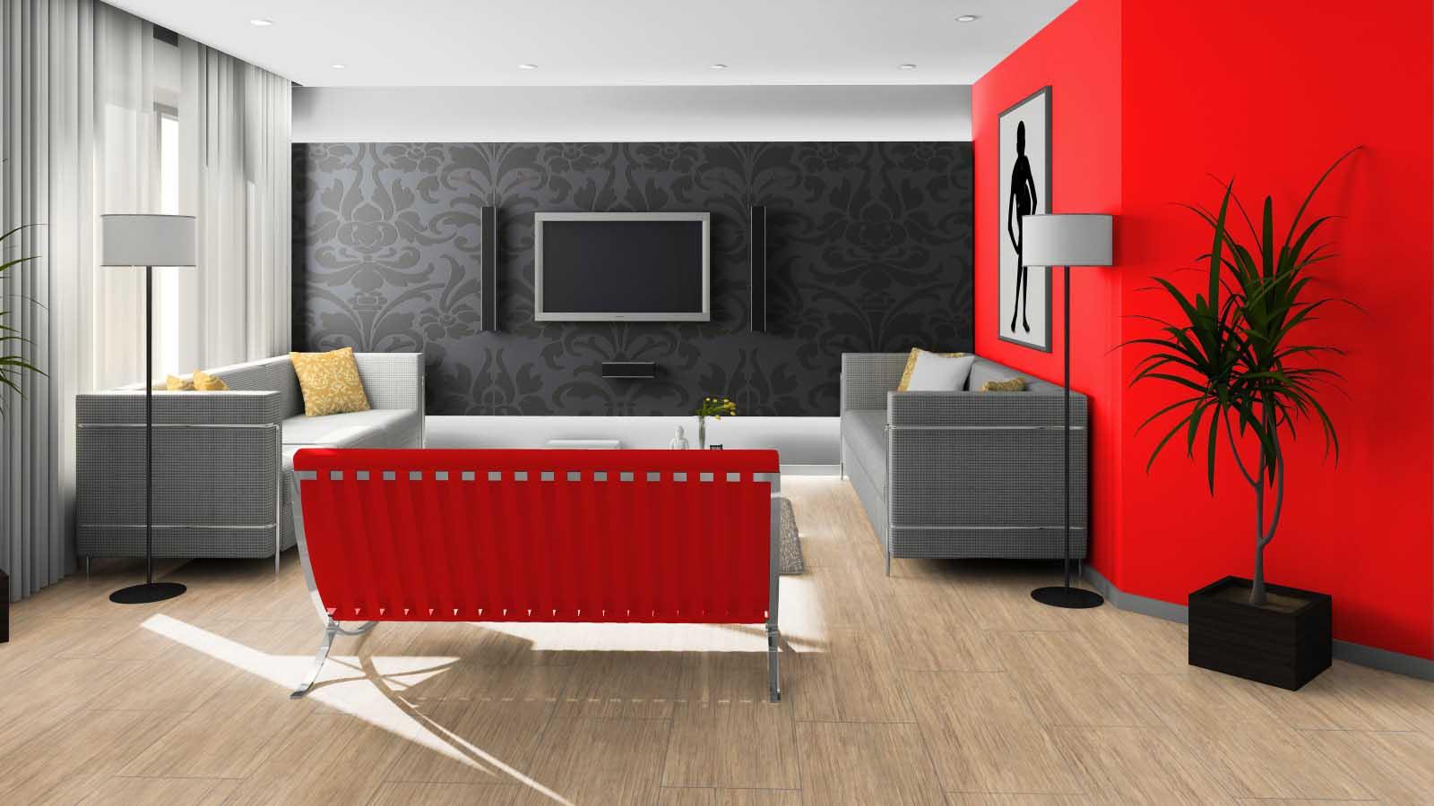 Черный и красный в дизайне гостиной