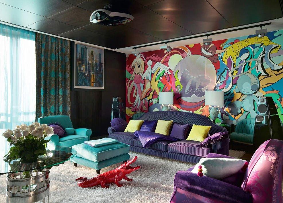 Интерьер комнаты с граффити