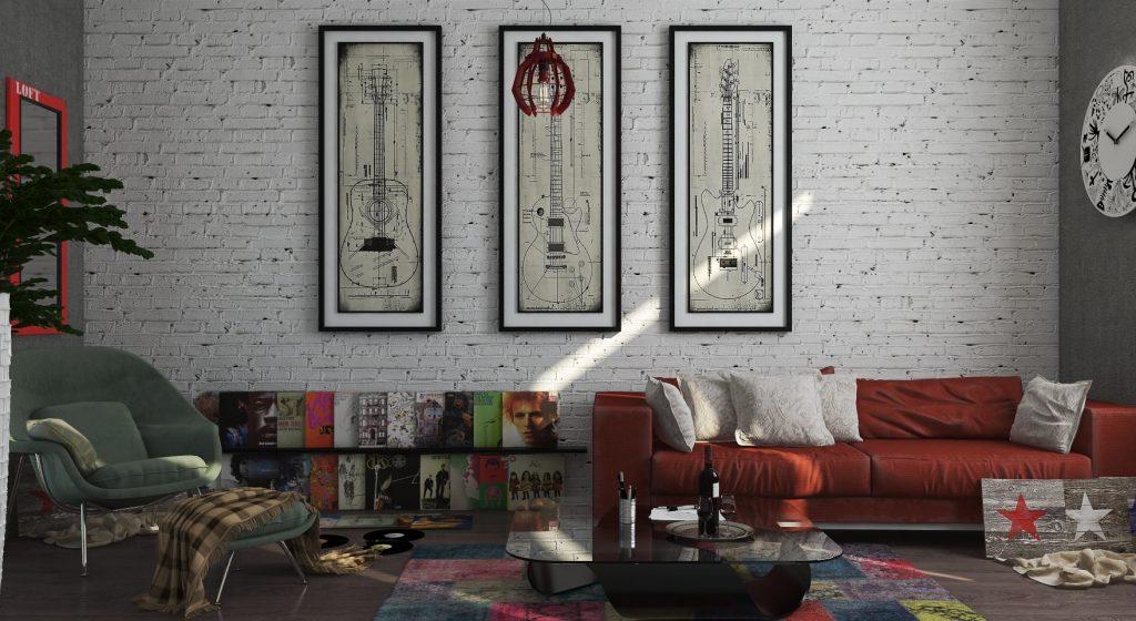 Интерьер в стиле лофт с картинами