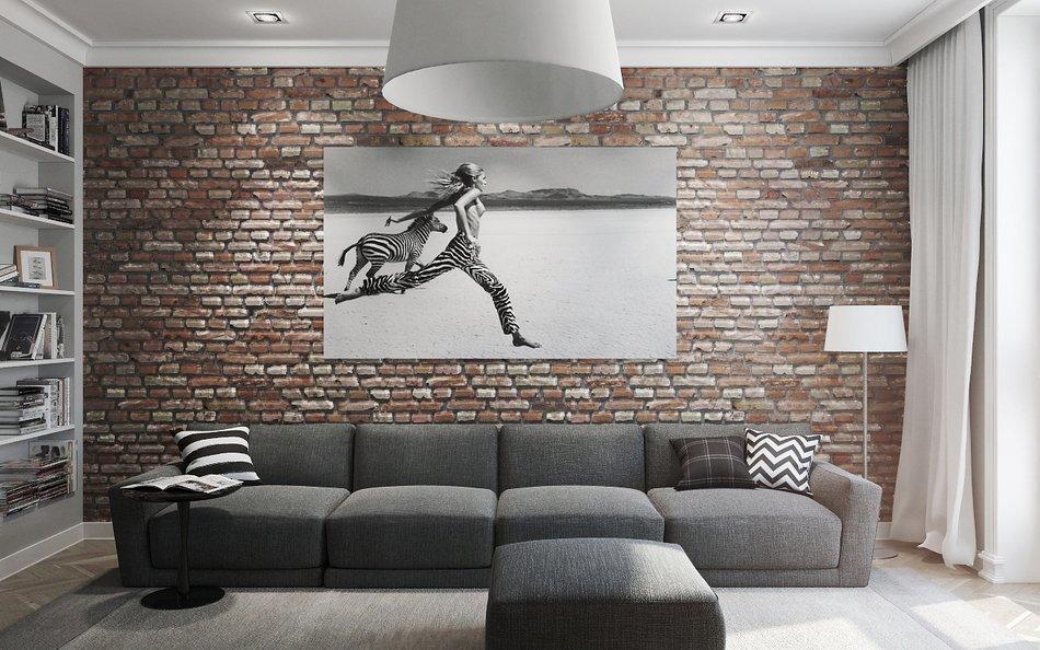 Картина в гостиной в стиле лофт