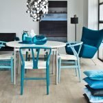 Blue furniture in the bright interior