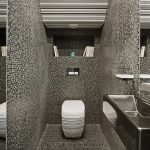 Mosaic gray tiles in toilet design