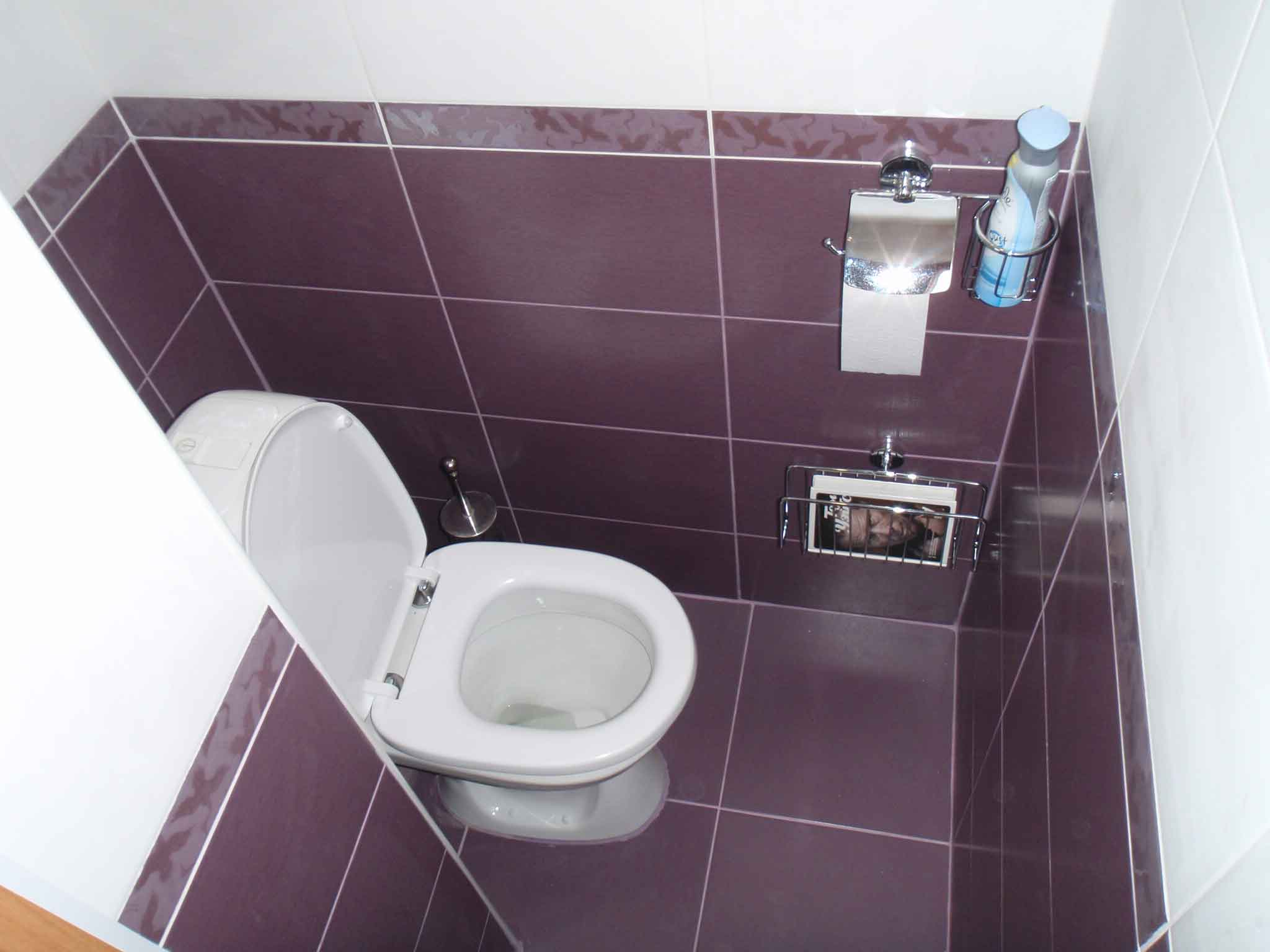 Purple and white in toilet trim