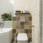 Bathroom design with tiles with ornament