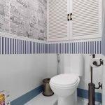 Полоска в дизайне туалета