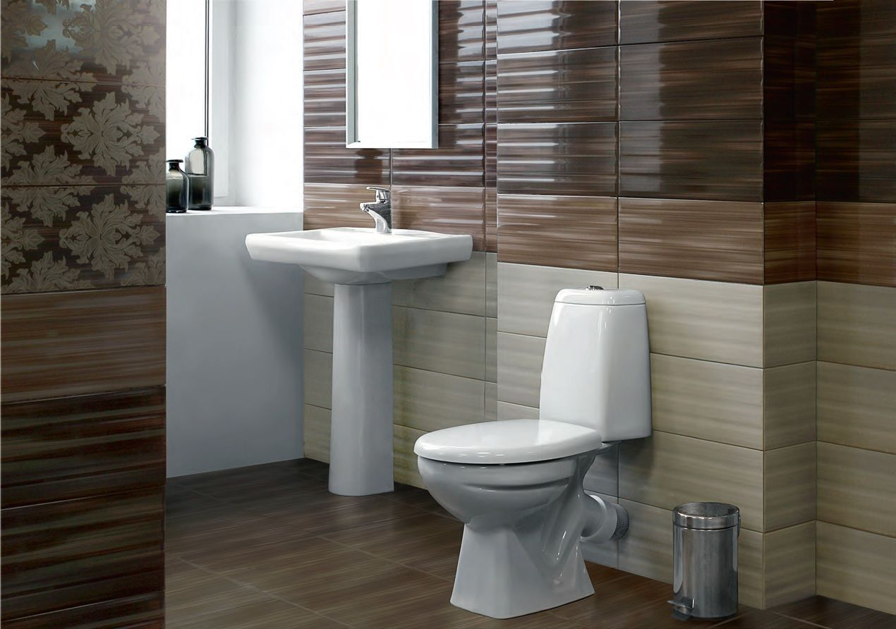 Brown shades in toilet design with sink