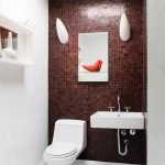 Mosaic burgundy shade in the design of the toilet