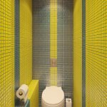Yellow mosaic in the design of the toilet