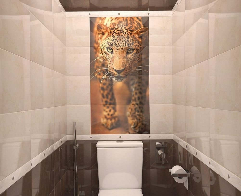 Porcelain tile in the decoration of the toilet