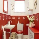 Romantic style in red and white toilet design