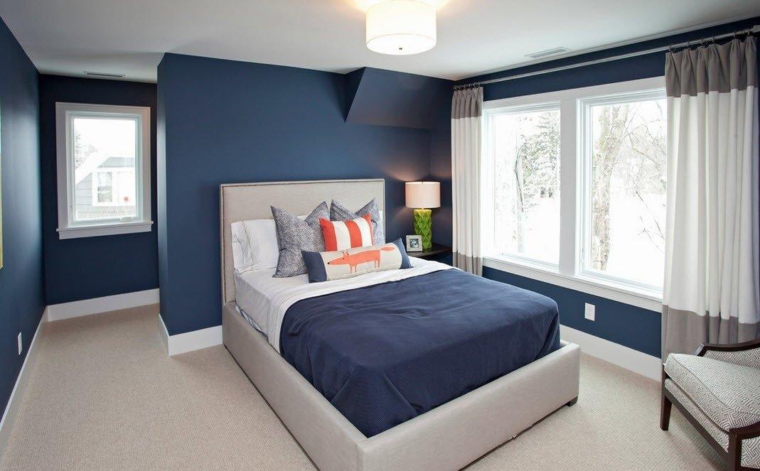 дизайн спальни серо синий фото фотографиях