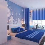 Рисунок на синей стене