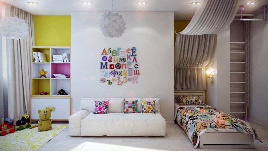 Желтая стена в белом интерьере