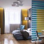 Желтые шторы на окне