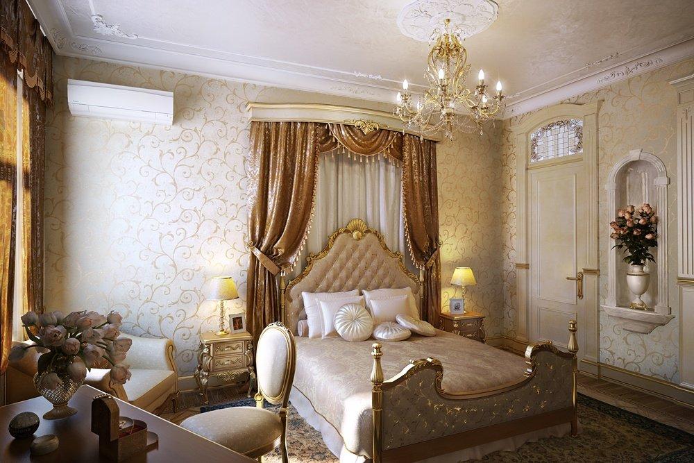 Золотой в интерьере спальни