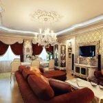 Золотые тона в дизайне гостиной в классическом стиле