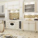 Отделка стен на кухне золотыми обоями
