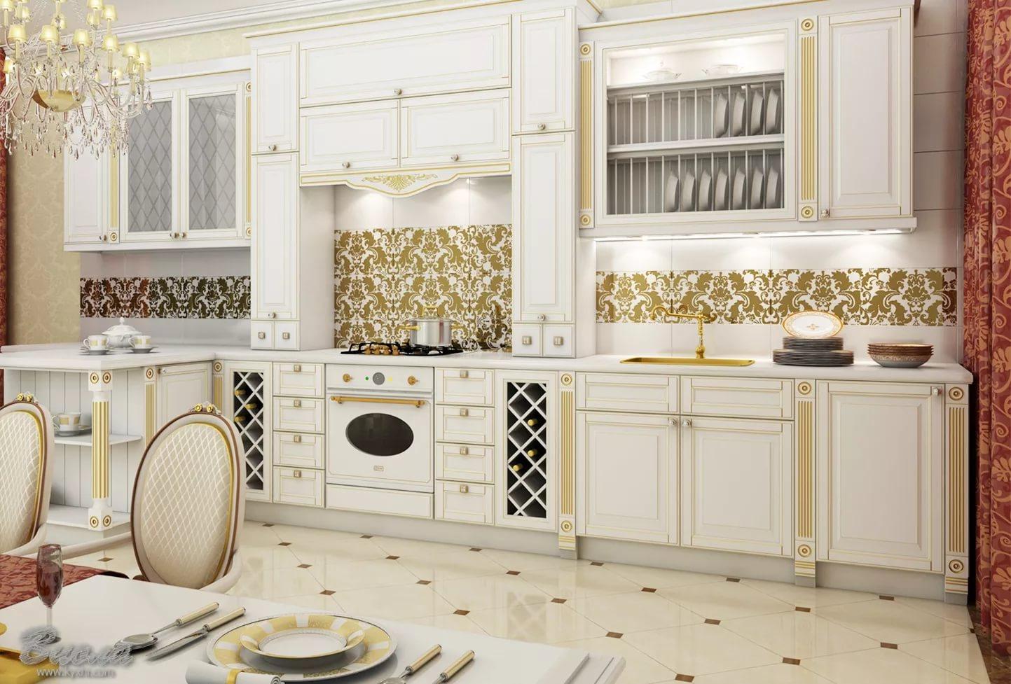 Белый и золотой в интерьере и дизайне кухни