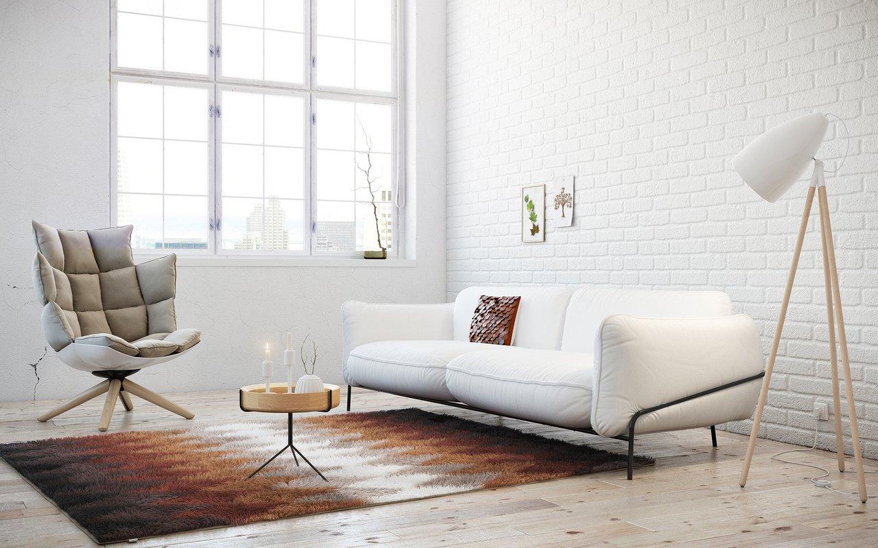 Белые обои в интерьере в стиле минимализм