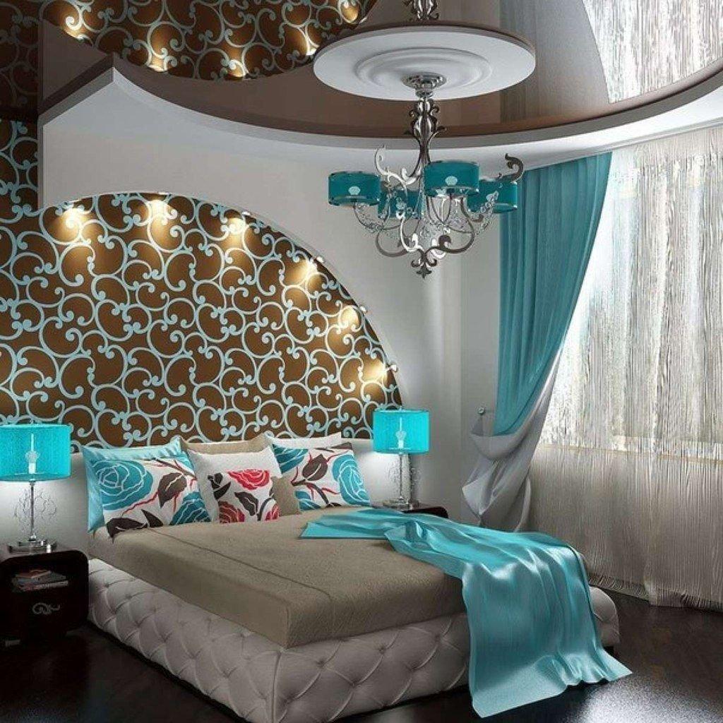 Бирюзово шоколадная спальня фото